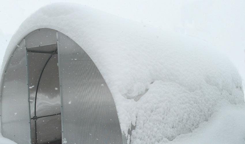Теплица слва со снегом
